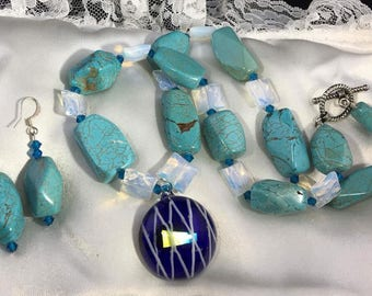 """HandCrafted Turquoise & MoonStone 20"""" Necklace Set"""