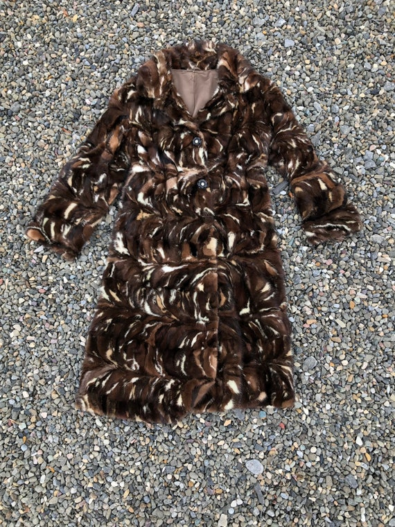 FABULOUS 1960s Marbled Mink Patchwork Fur Coat XS