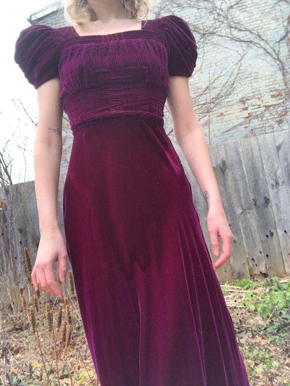 FABULOUS 1940s Raspberry Silk Velvet Bias Cut Smoc