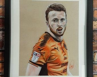 Hand Drawn Wolverhampton Wanderers Diogo Jota Framed Print