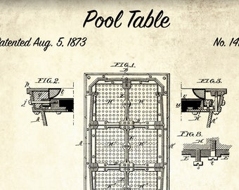 Pool table patent print pool table patent poster blueprint etsy billiards table patent print pool table patent poster blueprint art vintage pool game gift blueprint poster game room wall art malvernweather Image collections
