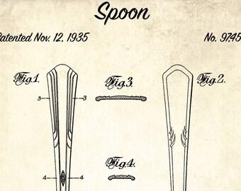 Spoon blueprint etsy spoon patent print 1935 spoon design patent blueprint art kitchen decor restaurant decor kitchen utensil wall art chef gift idea malvernweather Gallery