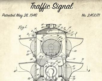 1946 Traffic Signal Patent Art Print Vintage Traffic Light Patent Art