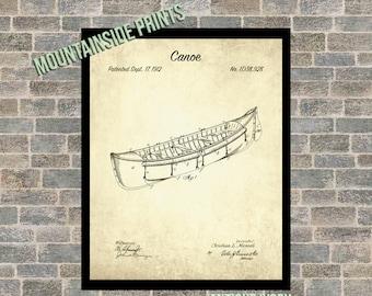 Canoe Blueprint Set of 6 Canoe Patent Canoe Print Canoe Poster Lake Decor sp34 Canoe Art Canoe Patent Prints