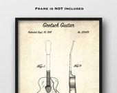 1941 Gretsch Guitar Patent Art Print - Gretsch Guitar Patent Art - Gretsch Guitar Blueprint Art - Guitar Player Gift - Music Room Decor