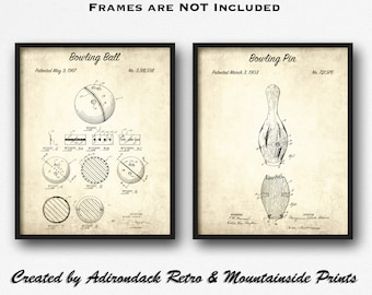 bowling pin & ball patent print set of 2 - bowling pin patent posters -  bowling pin art set - game room decor - bowling alley wall art