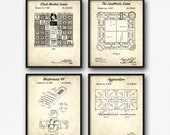 Board Game Patent Print Set of 4 - Retro Board Game Patent Posters - Vintage Game Night Wall Art - Game Room Decor - Kids Room Decor
