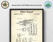 Selmer Trumpet Patent Art Print - Vintage 1939 Poster Art - Music Room Wall Decor - Music Gift - Music Store Wall Art