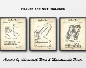 bowling alley patent print set of 3 - bowling patent posters - bowling alley  decor - man cave decor - sport gift - bowling gift - wall art