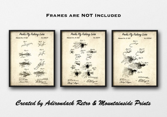 The Fishing Fly 18x24 Art Print Poster Fishing Fly Patent Design Drawing