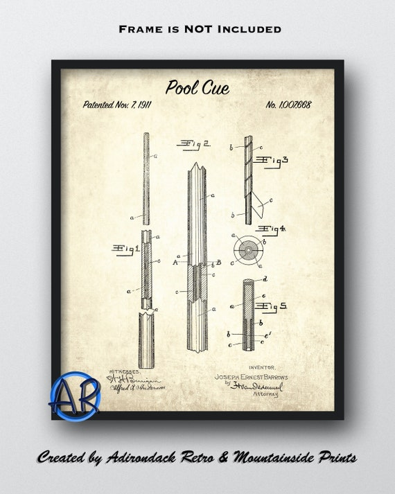 Ready To Be Framed! Antique Billiards Cue 1911  Pool Patent Print