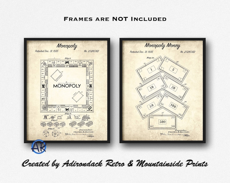 graphic about Printable Monopoly Money known as Monopoly Patent Print Established of 2 - Monopoly Monopoly Monetary Patent Posters - Board Video game Artwork Preset - Activity House Decor - Engage in Space Wall Artwork