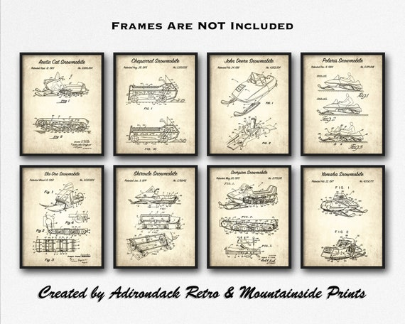 Snowmobiler Gift Lodge Decor Vintage Snowmobile Poster Set Snowmobiling Set of 8 Patent Art Prints Retro Snowmobiling Inventions