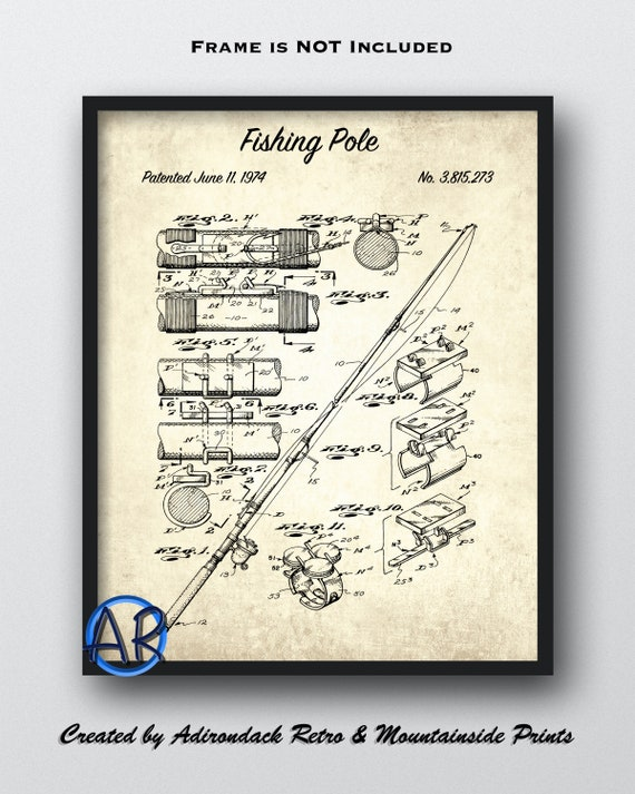 Fishing Pole Patent Print Fishing Rod Patent Poster