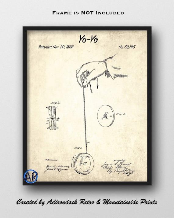 Vintage Yo Yo Patent Print Yo Yo Invention Yo Yo Toy INSTANT DOWNLOAD Single Print #1245 1866 Yo Yo Design