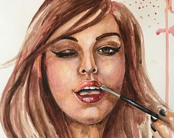 Lipstick Portrait Original Watercolor Custom Artwork