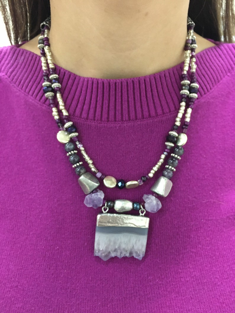 Raw amethyst and Tibetan silver necklace