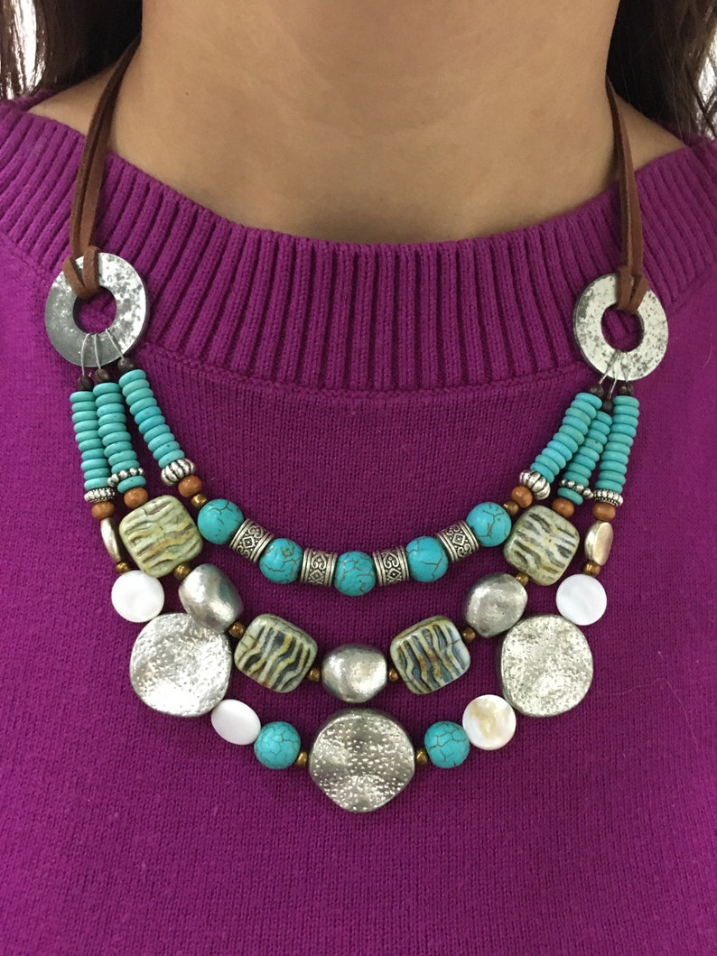 Upcycled turquoise and Tibetan silver necklace
