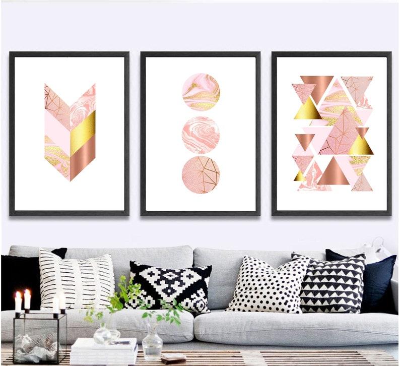 Set of 3 geometric prints pink marble rose gold Printable wall art set Digital Prints modern abstract art
