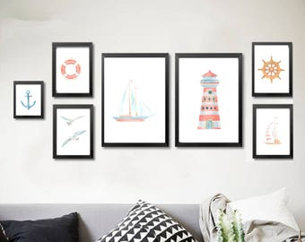 7 designs! Printable wall art set Digital Prints watercolor navy set decor