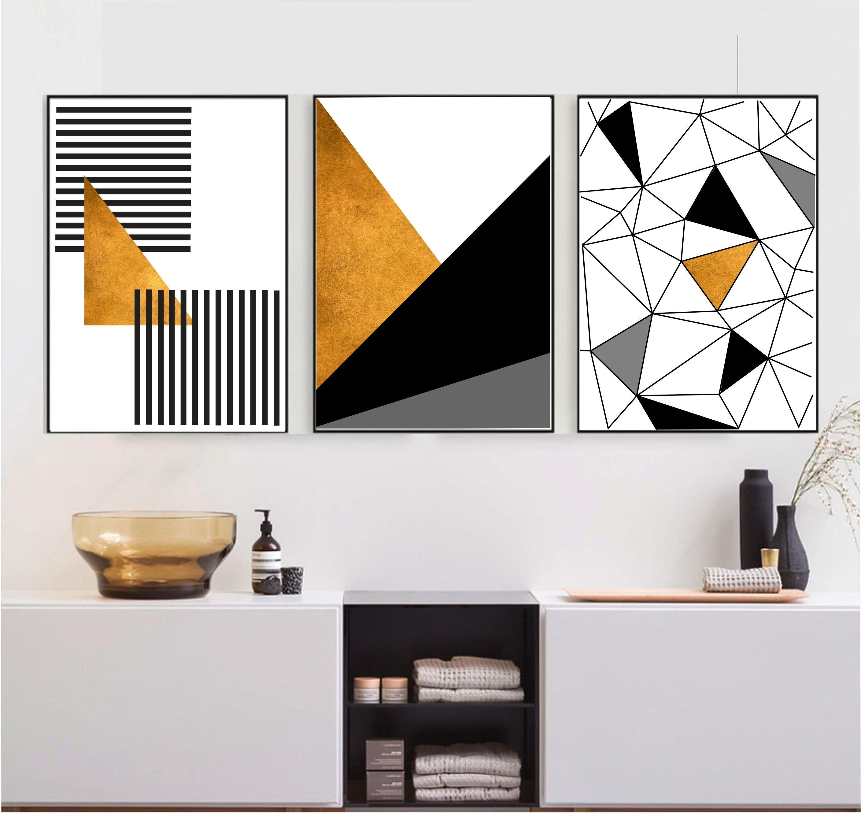 Modern nursery artwork- Triangles pattern Bear giclee print Geometric room decor Black and white wall art wall art A-338