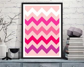 Printable art Digital Prints pink chevron modern geometric print wall art printable art, printable prints