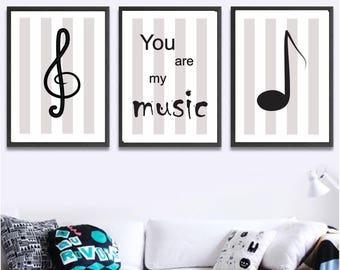 Set of 3 Printable wall art set Digital Prints music decor