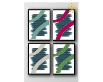 Set of 4 printable wall art set Digital Prints printable modern geometric print