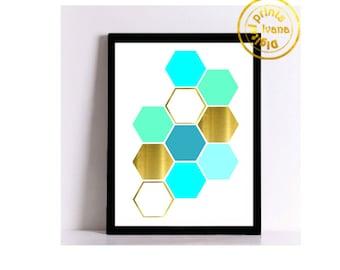 Printable wall art Digital Prints modern gold blue geometric print printable prints