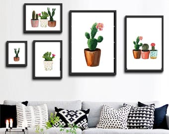 7 designs! Printable wall art set Digital Prints watercolor cactus flowers decor