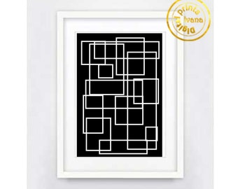 Printable wall art Digital Prints modern geometric black and white print printable prints