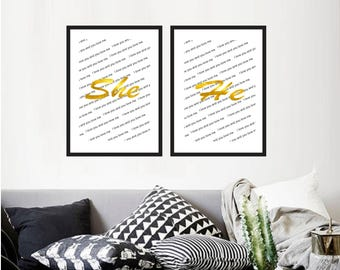 Set of 2 Printable wall art set Digital Prints Gold foil Wall art Home decor black and gold print she love printable art, printable prints
