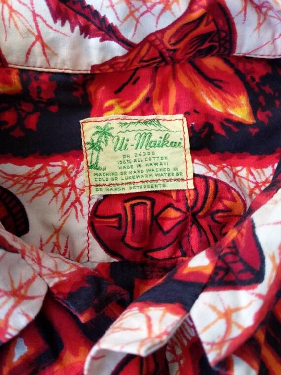 Vintage 50s 60s Ui-Maikai Hawaiian Tiki Shirt Cot… - image 2