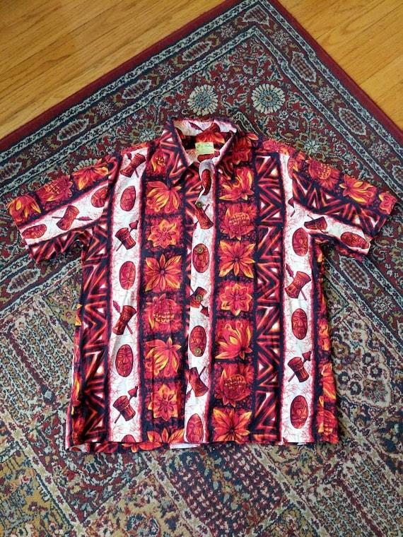 Vintage 50s 60s Ui-Maikai Hawaiian Tiki Shirt Cot… - image 1