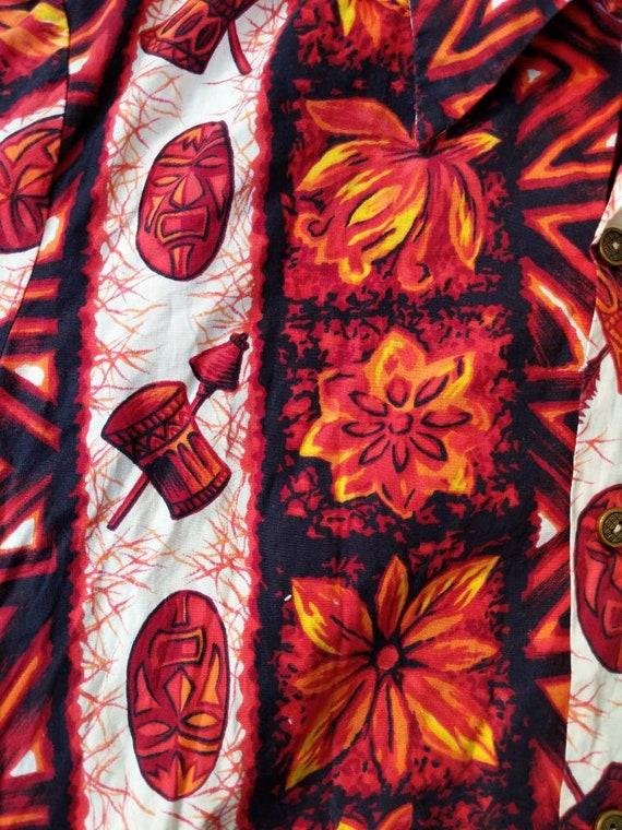 Vintage 50s 60s Ui-Maikai Hawaiian Tiki Shirt Cot… - image 4