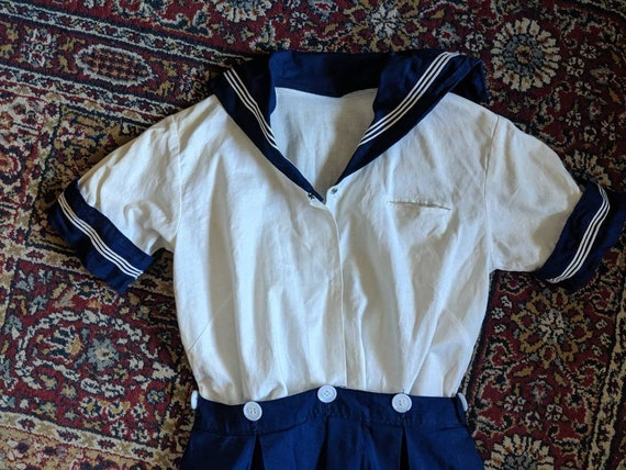 Vintage 30s 40s Sailor Dress Girls Outfit