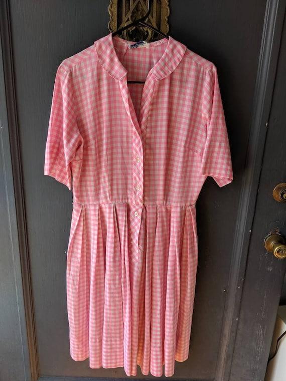 Vintage 50s 60s Jane Bradley Pink Gingham Shirtdre
