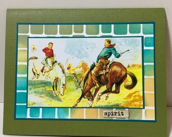 Cowboy Note Card - Rodeo - Western Theme - Horse Card - Western Card
