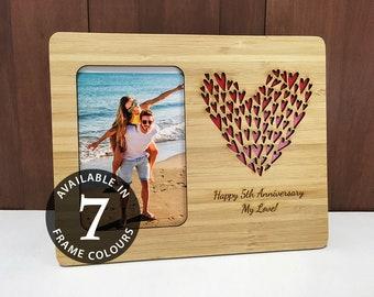 5e anniversaire cadeau, cadre Photo de mariage, cadeau personnalisé, cadeau d'anniversaire de 7, Laser Cut mariage, cadeau de fiançailles, cadeau Saint-Valentin pour femme