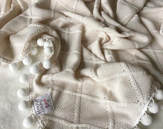 Soft Ivory Pom Blanket