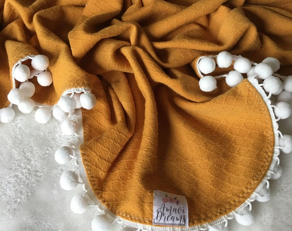 Sunflower Pom Swaddle Blanket
