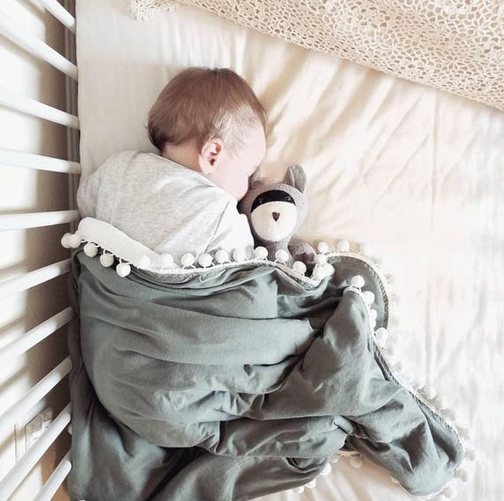 Fall Green Pom Swaddle Blanket
