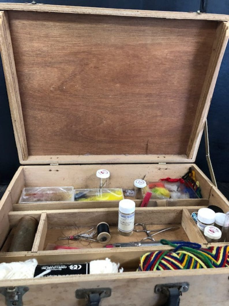 Vintage Fly Fishing Lure Making Kit With A Wooden Box