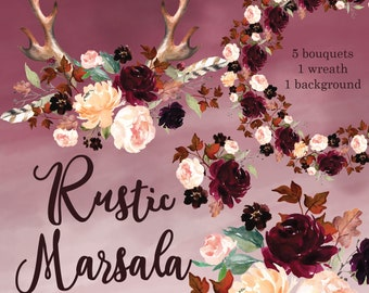 Rustic Boho Antler Marsala Wine Fall Leaves Clipart Watercolor Background Bouquets Feather Peachy Blush Burgundy Elements High Resolution