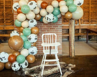 Western Cow Neutral Balloon Garland Party Kit