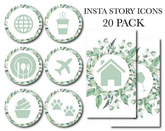 Instagram Story Highlights Icons Greenery Farmhouse Blogger 20 Pack Lifestyle Modern Classy