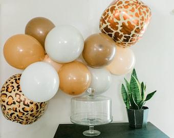 "4 pc Animal Print Balloons Jungle Mylar 22"" Cheetah & Giraffe"