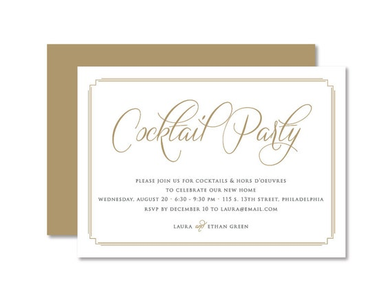 Cocktail Party Invitation House Warming Invitation New Home