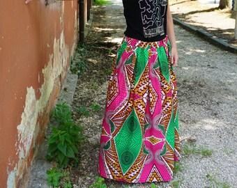 Wax skirt, African skirt, African fabric skirt, maxi skirt, skirt with elastic, gipsy skirt, colorful skirt, long skirt, winter skirt