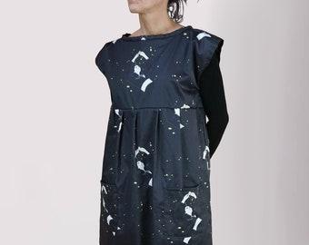 Long woman dress, shift dress, long winter dress for woman, tunic for woman, cotton tunic, cotton dress, asymmetric dress, Japan clothing